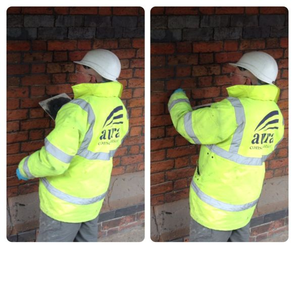 Tom applies the freshly made pointing mix