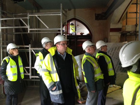 The guys see inside the church for the first time. from L to R: Steph, Tommy, Gareth,  Peter and Tony.