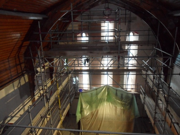 Few of us will have the opportunity to be this high up in the building. The organ can be seen below the dust sheets.