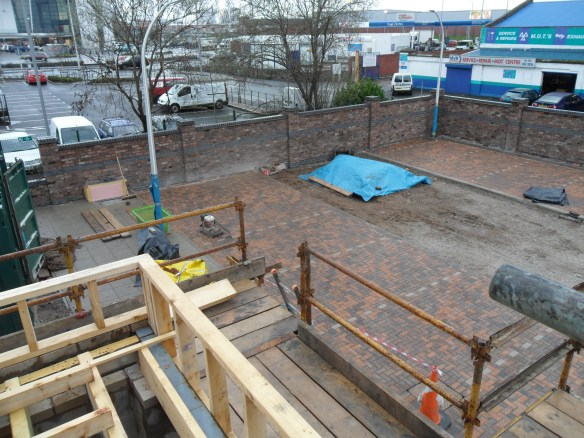 A shot from the roof which shows progress on the car park.