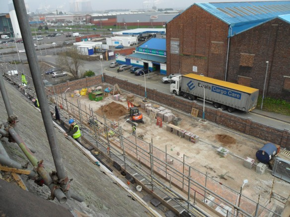 The view from the Bell Tower showing work on the roof and the car park.