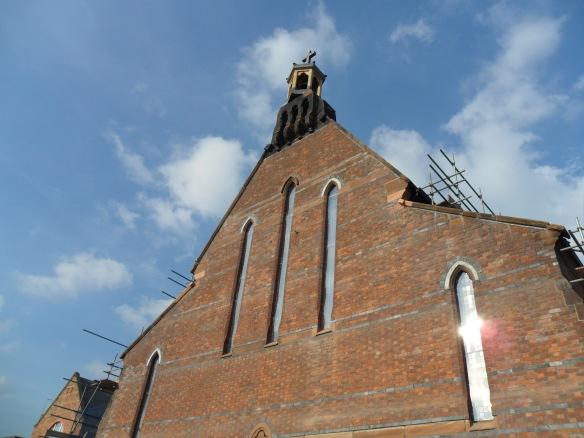 The scaffolding has come down on the Organ/Bell Tower end of the Church.